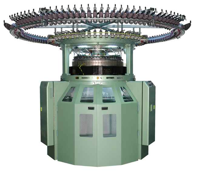 The V-LEC8BSC is a double jersey machine, with 2-way electronic jacquard needle selection
