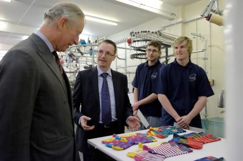 HRH the Prince of Wales visits Corgi Hoisery
